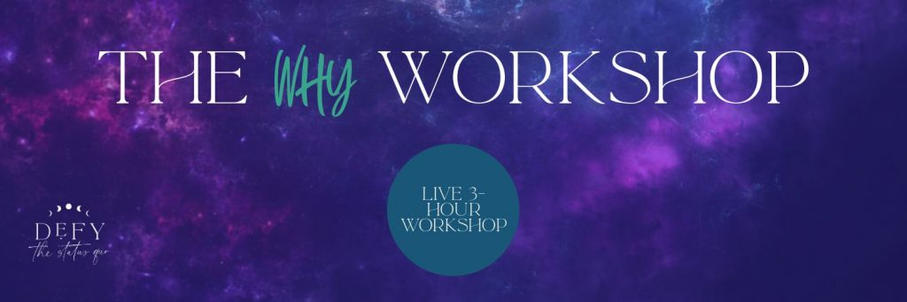WHY workshop banner with galaxy nebula star background